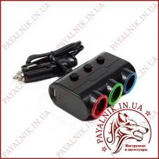 Автомобильный разветвитель прикуривателя Olesson 3 гнезда + 2 USB с тумблерами (1523 - светофор)