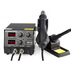 Паяльная станция Gordak 868D, термофен, паяльник, два дисплея, металический корпус
