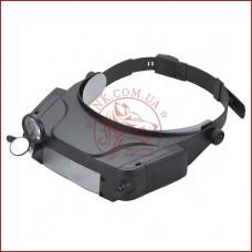 Бинокулярная лупа с подсветкой MG81007-C, очки для пайки и ремонта, удобное крепление на голове