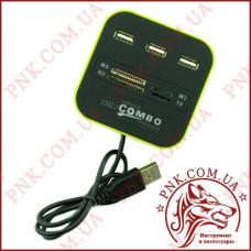 Разветвитель USB HUB 3 порта + картридер (SD, MS, M2, TF, Micro SD) v2.0 Combo (SY-H227)