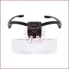 Бинокулярная лупа очки 9892B c Led подсветкой, для косметолога и мелких работ