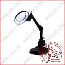 Лупа лампа настольная YIHUA-238, люминисцентная подсветка 11W, диаметр 90мм