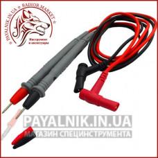 Шнуры мультиметра с серыми щупами, 20А, 4мм, силиконовый кабель (пара)