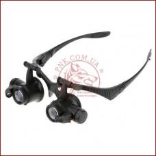 Бинокулярная лупа очки 9892GJ, Led подсветка, 4пары линз:10Х, 15Х, 20Х, 25Х