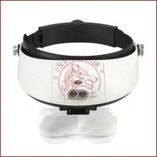 Бинокулярная лупа очки MG81001-G, Led подсветка, сменные линзы, удобное крепление